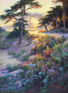 Sunset Through the Cypress  Pastel on On Archival Paper  24 x 18