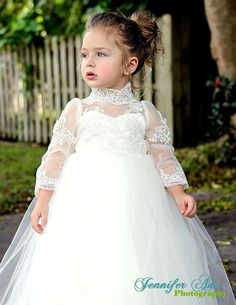 Long Sleeve Ivory flower Girl Dress Christening by BailynnBouNique