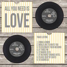 Vinyl CD Wedding Invitation Yellow