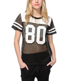 Keep things legit with some athletic inspiration with this black see-through mesh jersey that features white 80 applique graphics and a Stussy embroidery at the upper back.