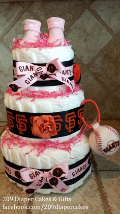 Pink Baby Girl San Francisco Giants Diaper Cake by 209 Diaper Cakes & Gifts - facebook.com/209diapercakes