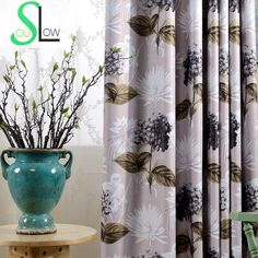 Purple Hydrangeas Printed Curtain Blackout Window Curtains For Living Room High Quality Cortinas Para Sala De
