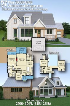 House Plan 280084JWD gives you 2000+ square feet of living space with 3 bedrooms and 2.5 baths. AD House Plan #280084JWD #adhouseplans #architecturaldesigns #houseplans #homeplans #floorplans #homeplan #floorplan #houseplan Country House Plans, New House Plans, Modern House Plans, Plumbing Drawing, White Siding, Building Section, Floor Framing, Cozy Fireplace, Double Garage