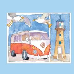 Emma Ball Red Camper & Lighthouse Card