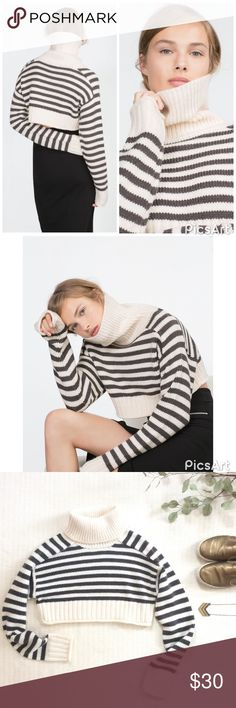 """🆕LISTING {Zara} Cropped Sweater Lovely cropped turtleneck by Zara Knit. In a cream and charcoal grey stripe. Amazing worn with high waisted denim or a skirt, or over a long tee for the layered look. NEW WITH TAGS. Machine wash on gentle cycle. 14"""" long. Zara Sweaters Cowl & Turtlenecks"""