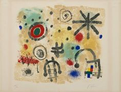 Signs and Meteors by Joan Miró, Guggenheim Museum Size: cm Medium: Lithograph Joan Mitchell, Miro Artist, Joan Miro Paintings, Peggy Guggenheim, Museums In Nyc, Spanish Painters, Modern Artists, Art World, Signs