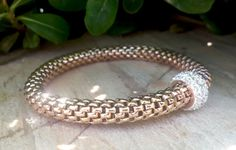 Sterling Silver Rose Gold Mesh Rope Pave Cubic by Braceletshomme