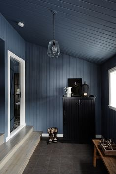 A black cottage in Iceland decorated in blue-grey tones Decor, House Design, Nautical Bedroom, Cottage, Home, Stunning Interiors, Grey Tones, Cottage Interiors, Hallway Designs
