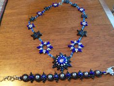 "20"" Swarovski crystal, Czech glass superduo, seed bead necklace w/matching bracelet by StrungOnLove on Etsy"