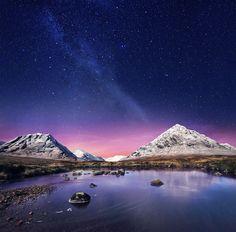 Shot by David Boni for Highland Spring Sparkling water. Scotland landscape night sky stars milky-way