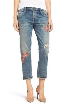Main Image - Citizens of Humanity 'Emerson' Embroidered Slim Boyfriend Jeans (Madera Blossom)