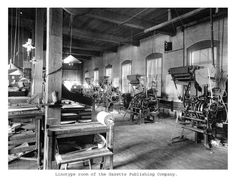 Linotype room of The Gazette Publshing Company.