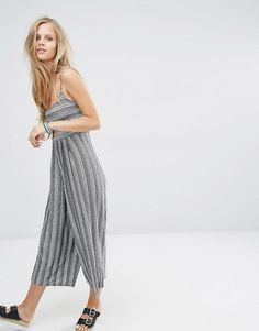 de322f85a9b6 Pull&Bear Culotte Jumpsuit In Stripe With Cut Out Detail at asos.com