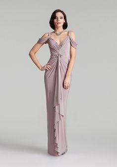 Chiffon Off the Shoulder Sheath/ Column Natural Waist Floor Length Evening Gown With Draping - 1300305394B - US$229.99 - BellasDress