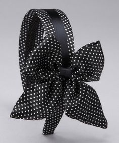 Take a look at this Black & White Polka Dot Bow Headband by SBNY on #zulily today!