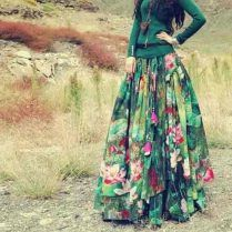 Floral green casual long skirts