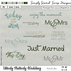 - Pack of 10 Word Art elements for the Utterly Flutterly Wedding kit. Fabric Paper, Elements Of Art, Paper Texture, Just Married, Be My Valentine, Perfect Match, Word Art, Verses, Mosaic