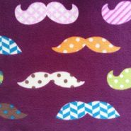 Anti Pill Fleece Fabric-Patterned Mustaches Chloe for sure!