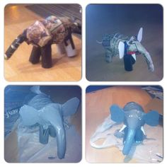 Paper mâché elephant out of recycled items for my sons homework project