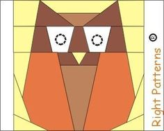 Owl  quilt paper pieced block