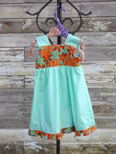 Toddler Dress Ruffles Orange and Teal Flowers by JBCountryCouture, $46.00 Ruffle Dress, Ruffles, Kid Clothing, Clothes, New Trainers, Teal Flowers, Heart Dress, Toddler Dress, Ariel