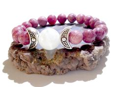 Moon Goddess, Stretch Bracelet, Rhodochrosite, Moonstone, Wiccan, Pagan, Metaphysical Jewelry, New Age, Priestess, Triple Moon, Hand Fasting by MoonMajickStudio on Etsy