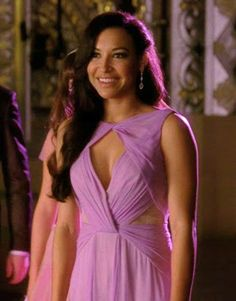 "Santana's Badgley Mischka  Sleeveless Triangle Neck Gown from Glee Season 4, Episode 20: ""Lights Out"""