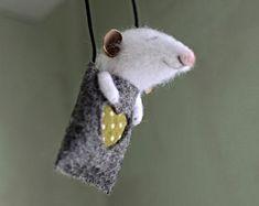 felt mouse, white felted mouse, miniature mouse, mouse's coat, miniature animal, felting animal.Sleeping mouse