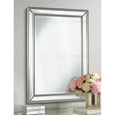 "Uttermost Palais Beaded 30"" x 40"" Silver Wall Mirror"