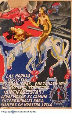 Spain - 1937. - GC - poster - autor: Toledo J. - Las Hordas fascistas extranjeras, pretenden invadir nuestro territorio !antifascistas¡ cerremosle el camino enterrandoles para siempre en nuestro suelo