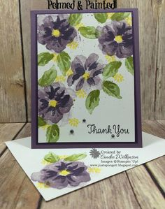 Just Sponge It: Let's Try Perfect Plum & Elegant Eggplant This Time! Penned & Painted stamp set, Thankful Thoughts stamp set, Gold Wink of Stella, Thank you cards, DIY, Stampin' Up!