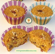 Muffins de avena y zanahoria. Oat and carrot muffins.