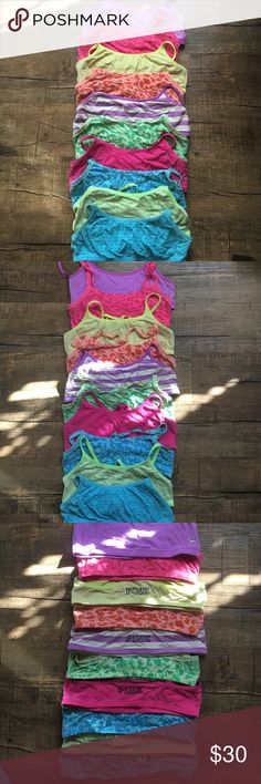 10 PINK Victoria Secret Sports bras This set includes 10 PINK Victoria Secret sports bras. These are all used and a few have some fading. These are a mix between Small and Mediums but they all fit like smalls. All of them still have the PINK tag on the inside. PINK Victoria's Secret Intimates & Sleepwear Bras