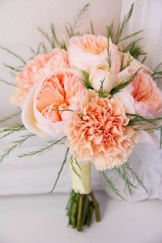 White, Peach and Emerald Green Wedding Flowers i like the flowers but not the bouquet style Peach Bouquet, Carnation Wedding Bouquet, Bridal Bouquets, Bridesmaid Bouquets, Peonies Bouquet, Bridesmaids, Ranunculus, Peach Wedding Bouquets, Peach Boutonniere