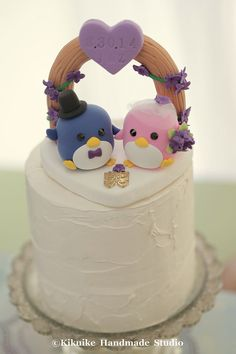 penguins with flower arch Wedding Cake Topper K431 by kikuike