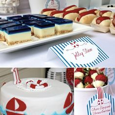 Say ahoy to these nautical party ideas! Nautical Food, Nautical Cake, Nautical Party, Sailor Party, Sailor Theme, Jelly Slice, Sailor Baby Showers, Nautical Bridal Showers, Diy