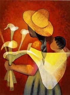 Lithographie originale de Toffoli Louis : La vendeuse d'arums