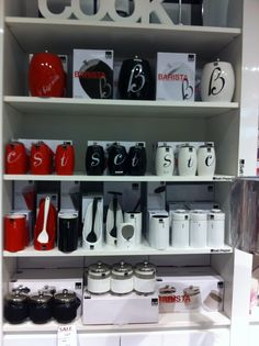 Habitania City store, George st. S&P Kitchen canister sets in red, black and white. Also spoon rests and salt pigs and biscuit barrels