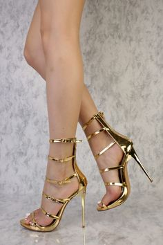 dc32cf1687eb Gold Open Toe Strappy Buckle Detail Ankle High Single Sole High Heels Faux  Leather