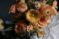 Ranunculas, roses, poppies Floral Arrangement #flowers by Amy Merrick