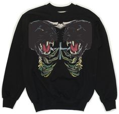 Black Sweatshirt With Panther Print via KOLYA KOTOV.