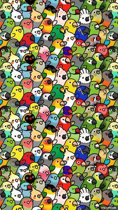 drawings - You guys like birbs Cute Animal Drawings, Bird Drawings, Kawaii Drawings, Cute Drawings, Animal Sketches, Kawaii Wallpaper, Cute Wallpaper Backgrounds, Aztec Wallpaper, Iphone Backgrounds