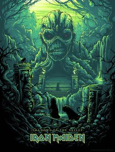 Iron Maiden Shadows of the Valley by Dan Mumford Silk Screen Art Print Acme Archives Iron Maiden Artwork Arte Heavy Metal, Heavy Metal Bands, Hard Rock, Music Artwork, Metal Artwork, Rock Posters, Band Posters, Movie Posters, Art Hippie