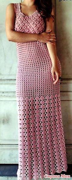 crochelinhasagulhas: Vestido rosa em crochê by Euroroma
