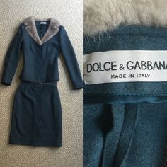 Authentic Dolce & Gabbana Skirt Suit FABULOUS blue women's skirt suit by Dolce & Gabbana. THE ULTIMATE IN LUXURY made in Italy from Virgin Wool. Real fur accent on the blazer jacket. No snags, stains... Literally PERFECT condition. Model T115/3688. Such a good price for this designer beauty!! Willing to negotiate, the price is just a starting point so don't be afraid to make an offer! This skirt suit will last you a lifetime and is made with quality and care. Dolce & Gabbana Skirts Skirt…