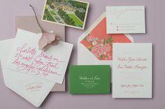 bright letterpress invitation suite in coral and green