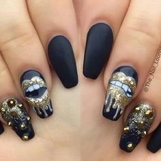 Amazing nail art ! Black matte ballet shAped nails with gold glitter and studs
