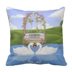 Coronary heart of Swans Throw Pillow. *** See more at the photo