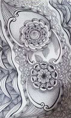 Zentangle Inspired Flowers and Vines  pen  ink and by Megadesignz, $24.00