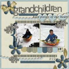 """Grandchildren hold pieces of our hearts"". Love the puzzle pieces and color choices."